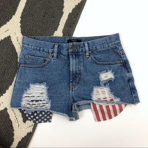 Forever 21 USA Flag Pocket Denim Distressed Shorts